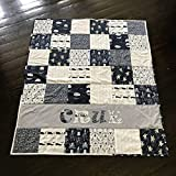 Personalized Navy Blue and Gray Nautical Baby Quilt - Crib Size - Octopus - Whales - Narwhals - Ships - Anchors - Sea Turtles