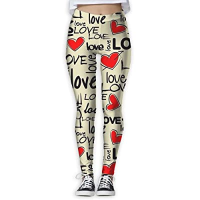 VDSFEE1DR 3D Printed Valentine's Day Love High Waisted Super Stretch Yoga Leggings for Women Girls