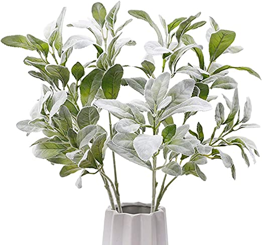 25 PCS Artificial Lambs Ear Leaves Greenery for Crafts Weddings and DIY Projects