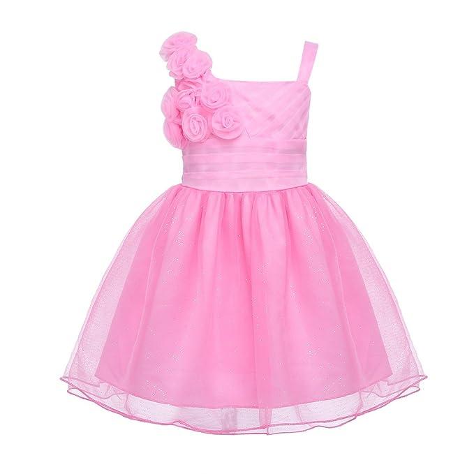 FEESHOW Vestido Elegante Boda Fiesta con Flores Nuevos Vestidos de Princesa para Bebé Niña Recién Nacido