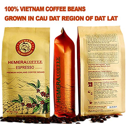 HEMERA Espresso Coffee Beans – Whole Bean Coffee – Fresh Light Roast Coffee Beans – Vietnamese Specialty Coffee Traditional Drip Filter Maker For Camping Travel