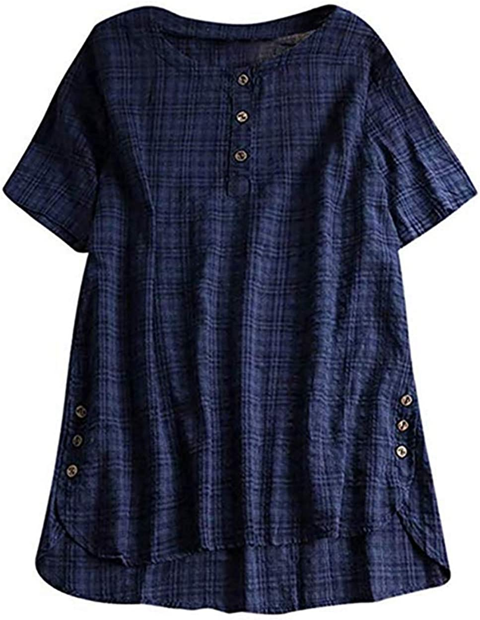 Womens Plus Size Summer Blouse Tunic Holiday Ladies High Low Floral T-shirt Tops