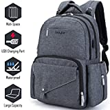 Diaper Bag Multi-Function Travel Backpack/Large Capacity Waterproof Nursing Bag for Baby Care/Mummy Maternity Baby Nappy Changing Bags with USB Charging Port for Moms & Dads(Dark Grey)