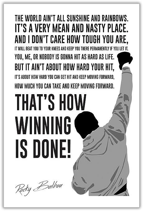 Rocky Balboa Winning Quote A4 Premium Photo Poster