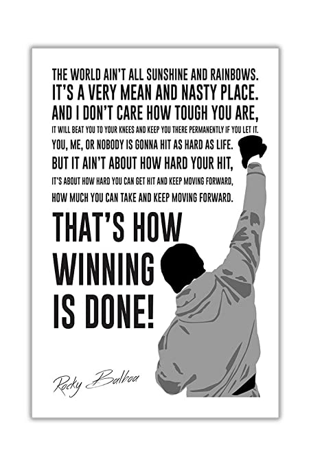 Rocky Quote | Famous Movie Quote By Rocky Balboa In White Wall Poster Prints Room