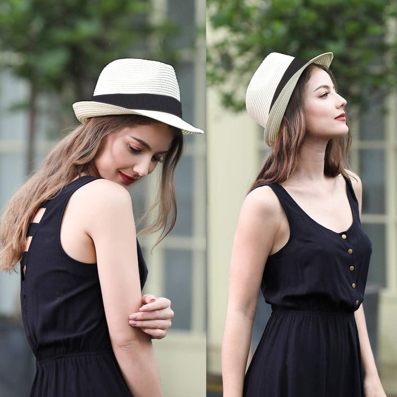 CHIC DIARY Panama Summer Fedora Trilby cappello da sole in paglia per uomini e donne cappello da spiaggia classico