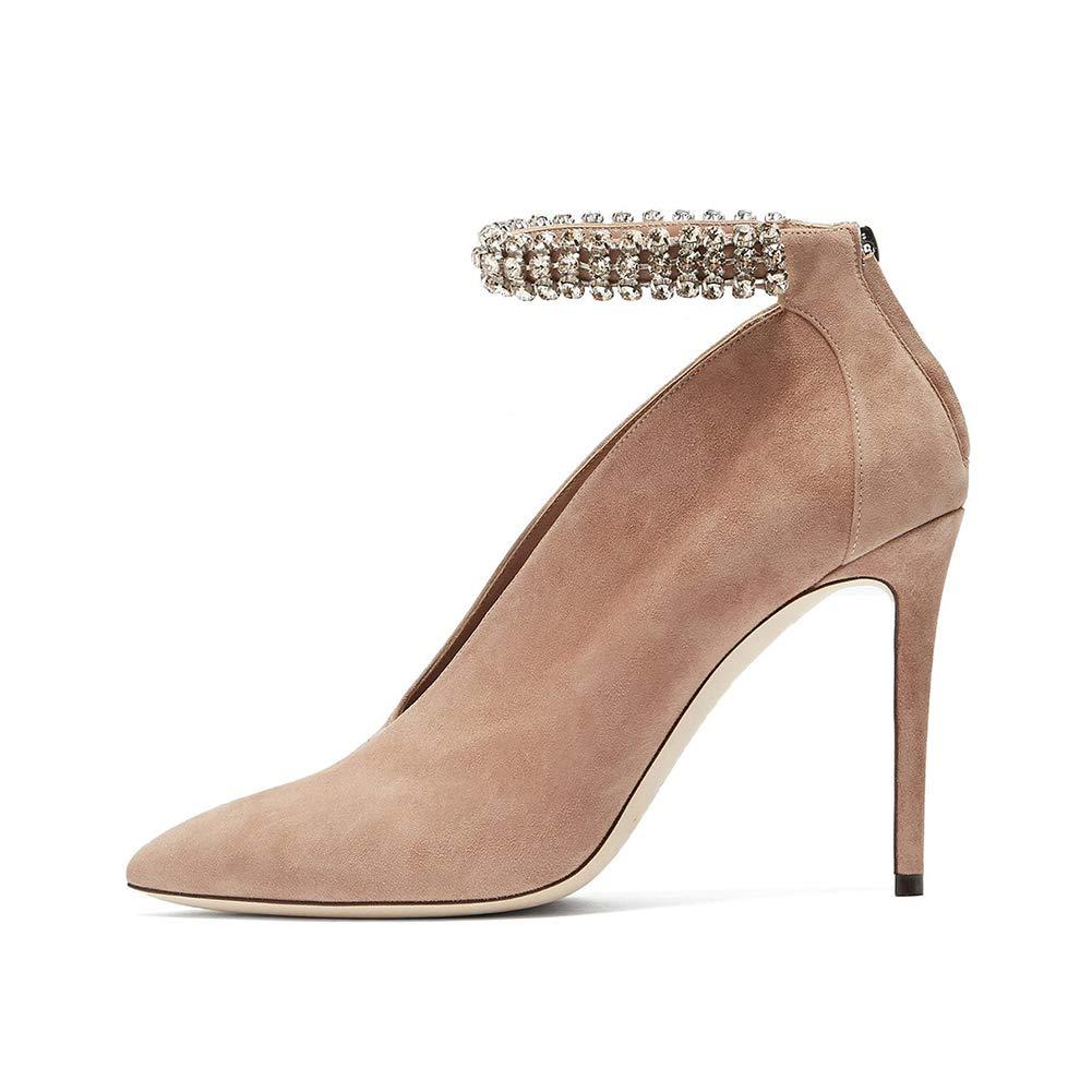 LL De las mujeres Ante Tacón alto delgado Zapatos solos Brillante Diamante  de imitación 71305bb96541