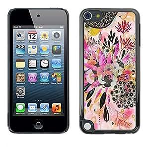 For Apple iPod Touch 5 Case , Plant Art Abstract Drawing - Diseño Patrón Teléfono Caso Cubierta Case Bumper Duro Protección Case Cover Funda