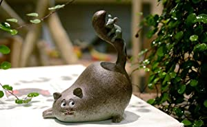 Amusing Mini Funny Fat Cat with Mouse Statue Figurine Ornament Home Garden Lawn Decor for Bookshelf Flowerpot