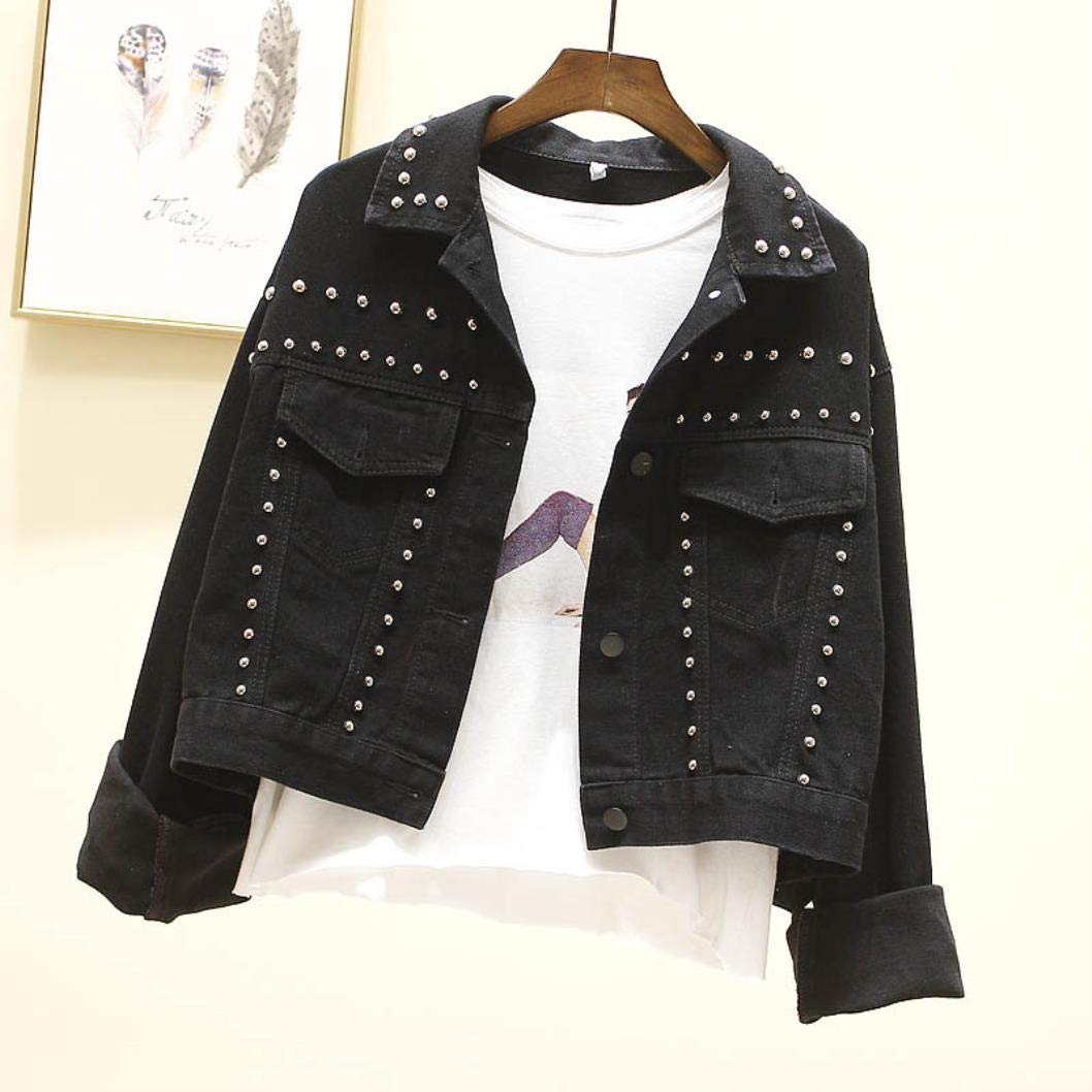 MYNOV 2019 Black Rivet Frayed Jean Jacket Long Sleeve Short Women Jacket Coat Students