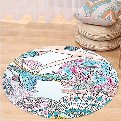 VROSELV Custom carpetMermaid Decor Cartoon Mermaid in Sea Sirens of Greek Myth Female Human with Tail of Fish Image for Bedroom Living Room Dorm Pink Blue Round 79 inches