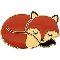 Real Sic Sleeping Fox Pin - Cute, Kawaii Gold Fox Jewlery, Jacket Pin for Everyday Wear on Backpacks, Hats & Bags