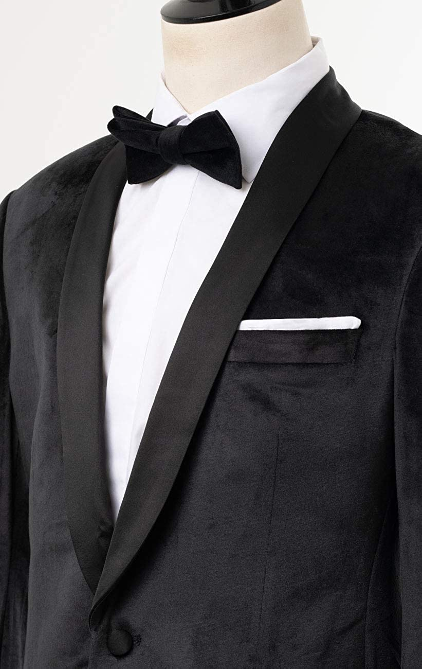 Dobell Mens Black Velvet 2 Piece Tuxedo Regular Fit Shawl Lapel