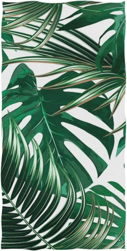 Amazon Com Naanle Palm Leaf Tropical Jungle Monstera Leaves Floral Pattern Print On White Soft Bath Towel Absorbent Hand Towels Multipurpose For Bathroom Hotel Gym And Spa 30 X15 Home Kitchen