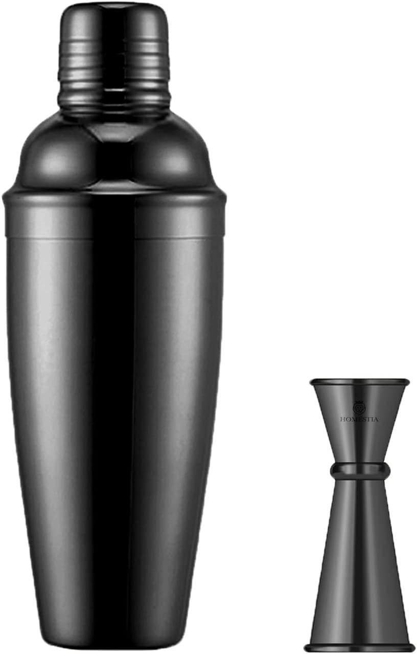 Homestia Black Cocktail Shaker Set includes 24oz Martini Shaker and Strainer Stainless Steel Mix Drink Shaker Set-with One Double Cocktail Jigger 1&2oz-for Home Bar & Bartender Mixing