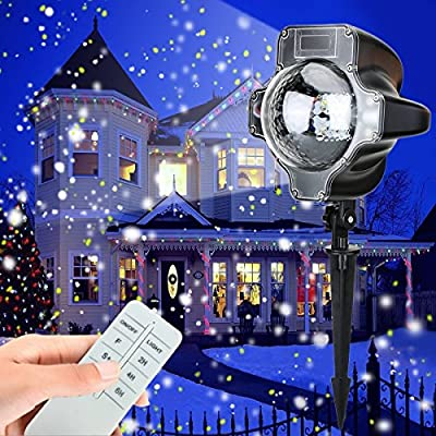 Snowfall LED Lights, Christmas waterproof Rotating Fairy Snowflake Projector Lamp with Wireless Remote, White Snow Projection Light for Christmas, Halloween, Party, Wedding and Garden Decorations
