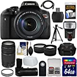 Canon EOS Rebel T6i Wi-Fi Digital SLR Camera & EF-S 18-55mm IS STM + 75-300mm III Lens + 64GB Card + Case + Grip + Tripod + Flash + Tele/Wide Lens Kit