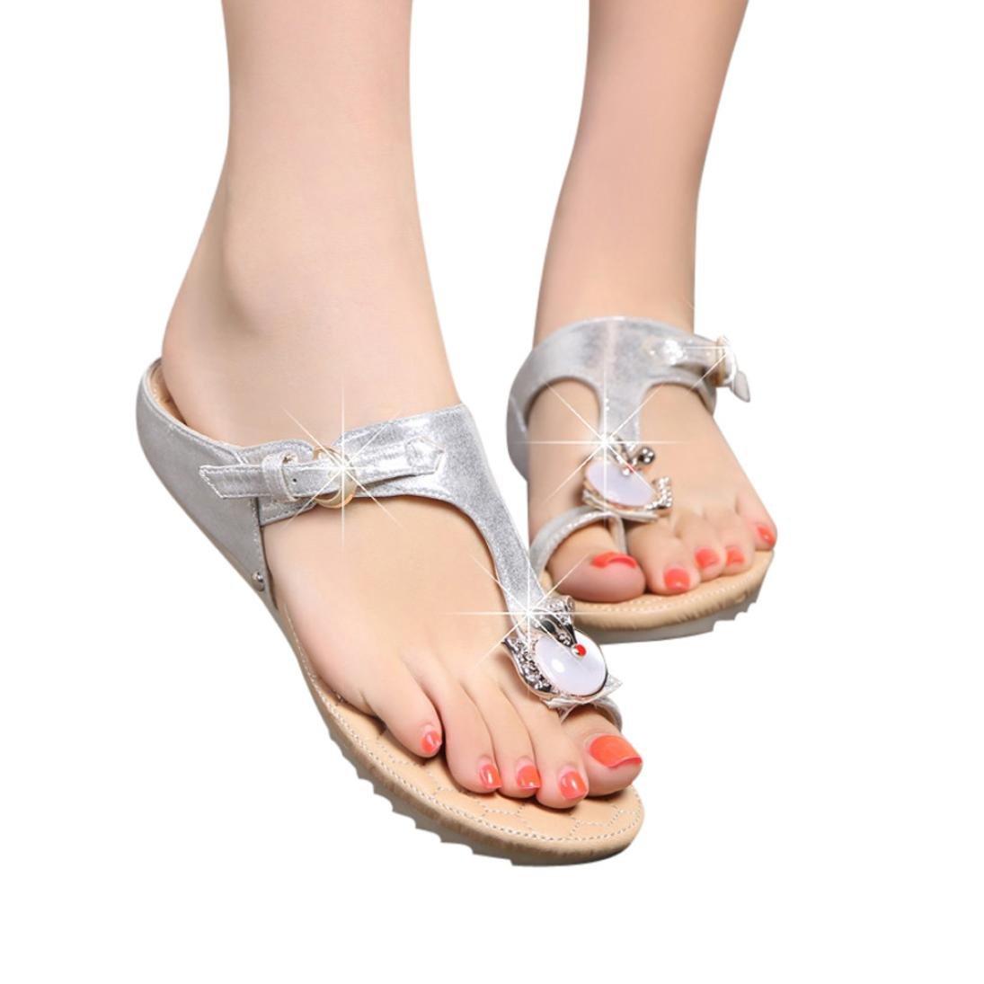 Ouneed- Damen Sandalen, Damen Sommer Mode Frauen Strass Flache Ferse Anti Skidding Strand Schuhe Sandalen Slipper36|Silber