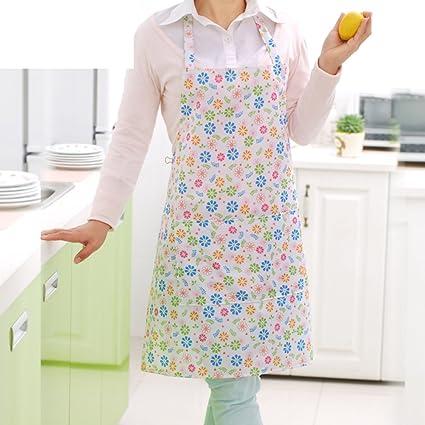 QTQZHOME Impermeable Pvc Banda Bolsillos de Se?oras Las mujeres Mujer Delantal Babero Babero Cocina