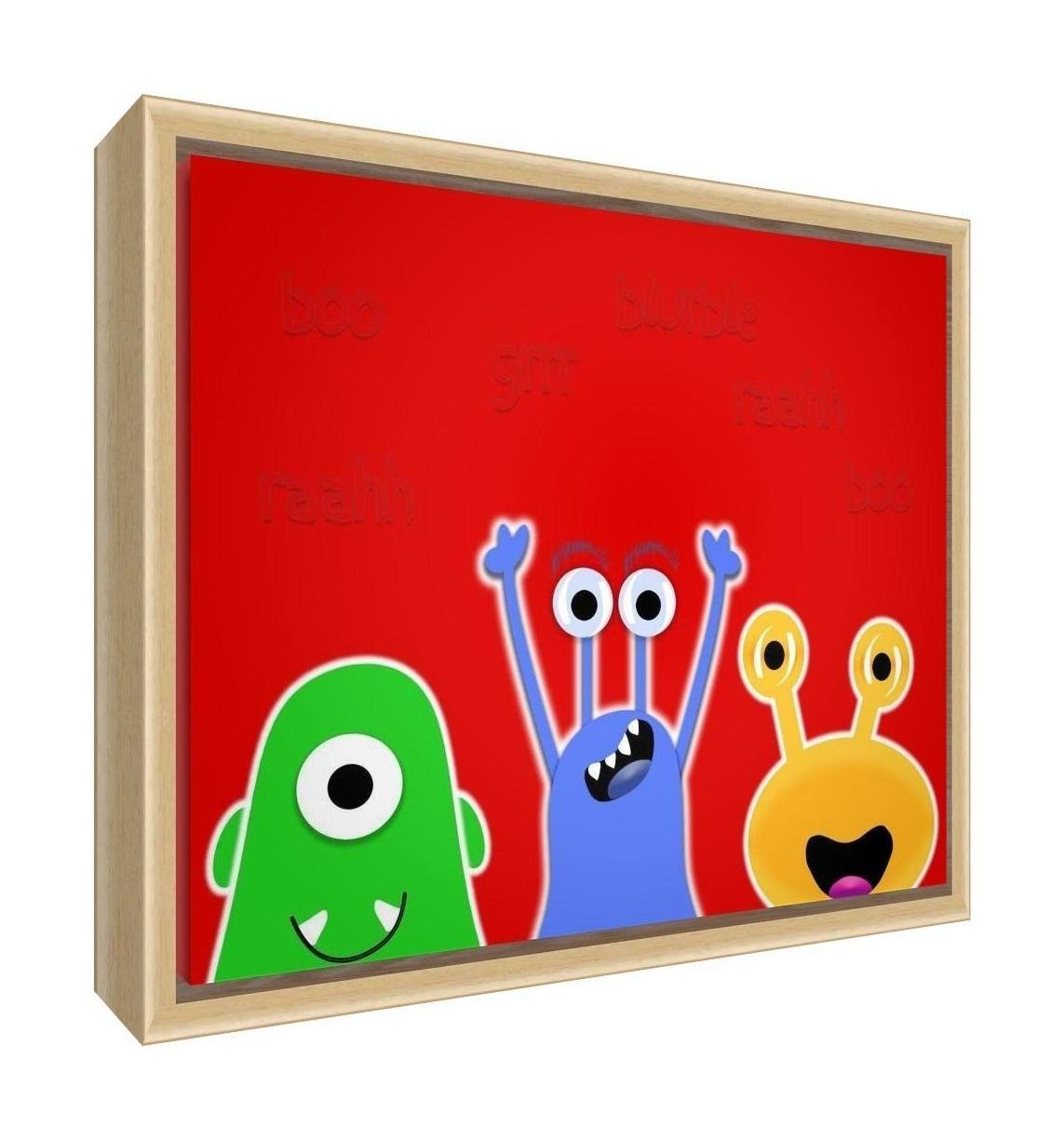 Feel Good Art Eco-Printed and Framed Nursery Canvas with solid Natural Wooden Frame (64 x 44 x 3 cm, Large, Red, Monsters) MONSTERS-1624FCNAT-09