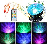 Ocean Wave Projector, Ohuhu 12 LED 7 Colors Changing Remote Control Night Light with Built-in Music Player, Undersea Projector Lamp for Kids Adults Bedroom Living Room Decoration, Black