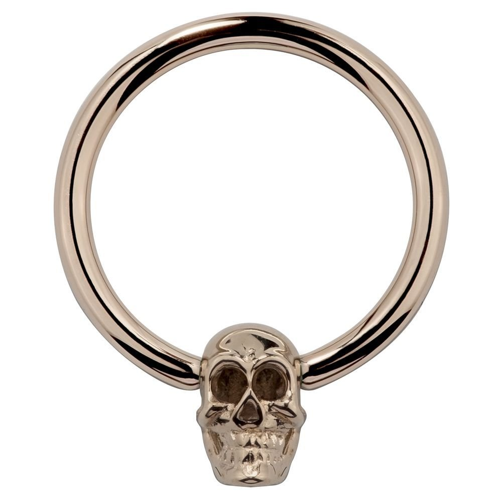 Skull 14K Rose Gold Captive Bead Nipple Belly Ring 14G FreshTrends FTSKCR14-3-8-ROSE