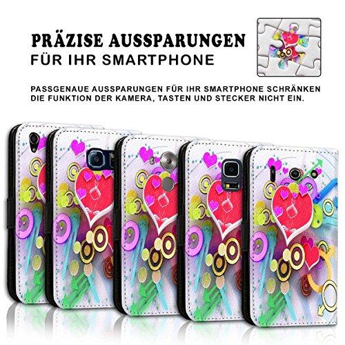 Wallet Book Style Flip Handy Tasche Case Schutz Hülle Schale Motiv Etui für Apple iPhone 4 / 4S - Design Flip MVD346