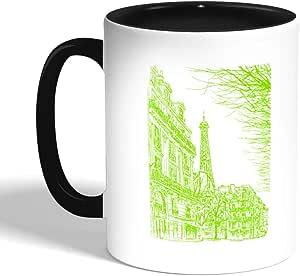 كوب قهوة برسمة تجريدية لباريس بألوان مختلفة - باللون الاسود (سيراميك)