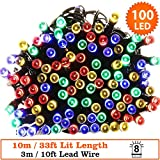 Fairy Lights 100 Bright White Indoor LED String Lights 10m/33ft Lit length - Battery Operated - 8 Functions - Ideal for Christmas Tree, Festive, Wedding/Birthday Party Decorations-Green Cable