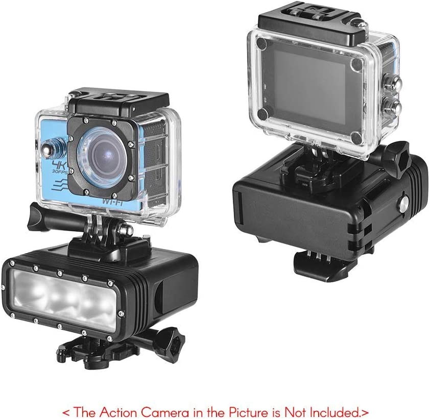 TPOTOO Action Camera Light Waterproof LED Video Light Dimmable Lamp Underwater 40M Diving with 900mAh Rechargeable Battery for GOPRO 7 or Any Action Camera