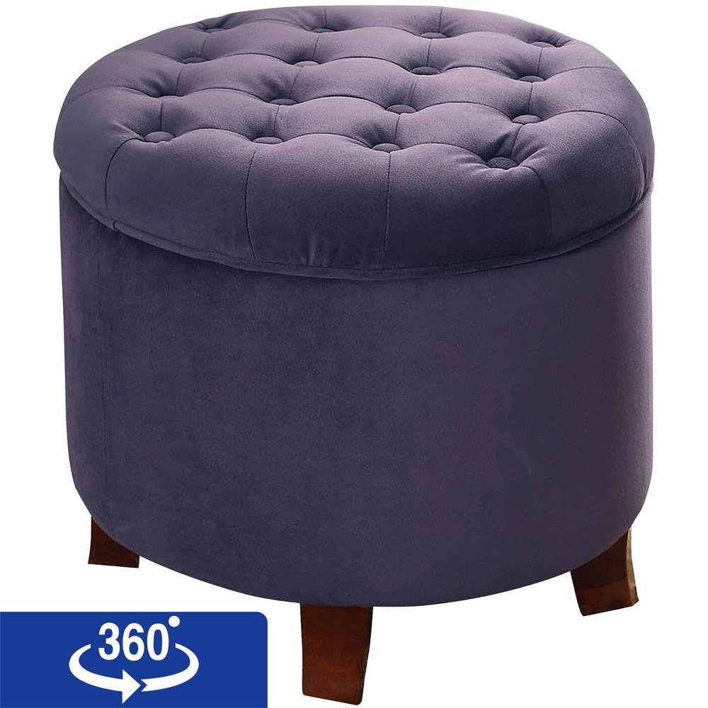 Surprising Details About Homepop Velvet Tufted Round Storage Ottoman With Removable Lid Purple Theyellowbook Wood Chair Design Ideas Theyellowbookinfo