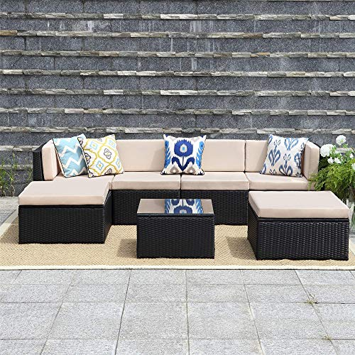Wisteria Lane 7 Pcs Outdoor Furniture Sets,Patio Sectional Sofa Couch Conversation Sets Garden Rattan Chair Glass Table with Ottoman Black Wicker, Beige Cushion