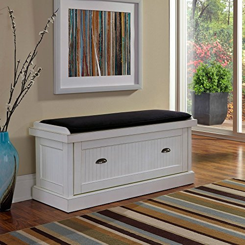 Home Styles Nantucket Upholstered Bench, Distressed White