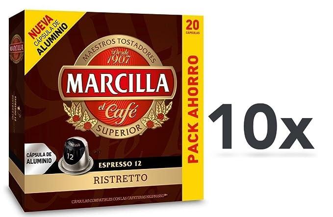 Capsulas Compatibles Nespresso®* Marcilla Ristretto 200 Cápsulas Aluminio