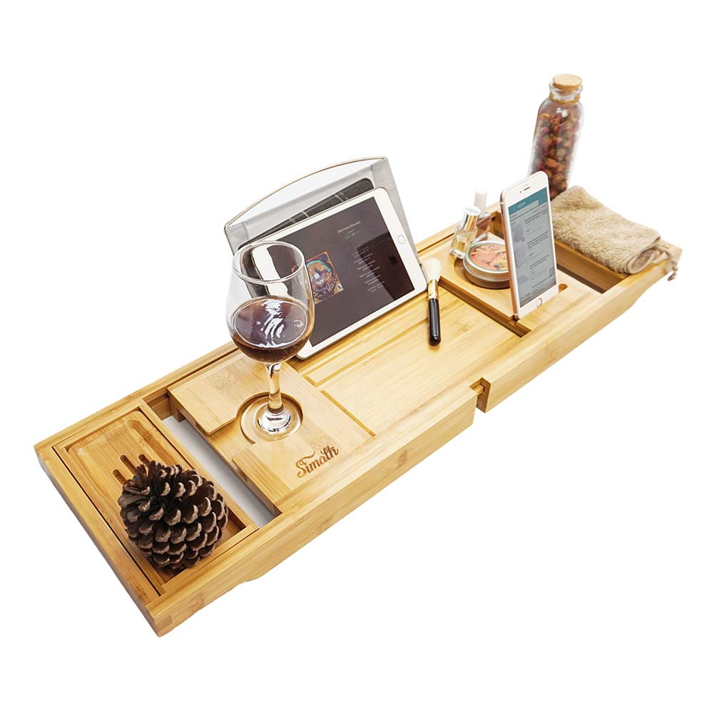 Simath Luxury Bathtub Caddy Tray - Bamboo Adjustable Bath Tray for Any Size Bath Tub, Free Soap Holder - Water Resistant