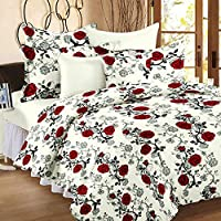 Story@Home 120 TC Cotton Double Bedsheet with 2 Pillow Covers - Floral, Red