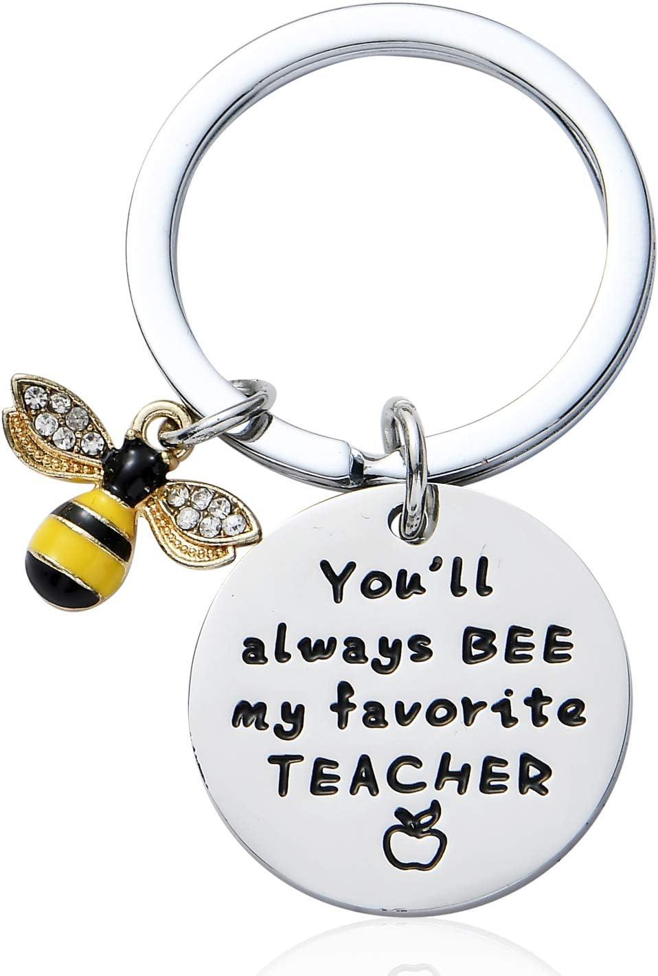Llaveros con Texto en ingl/és You Will Always Be My Favorite Teacher Regalo de Agradecimiento para Hombres y Mujeres