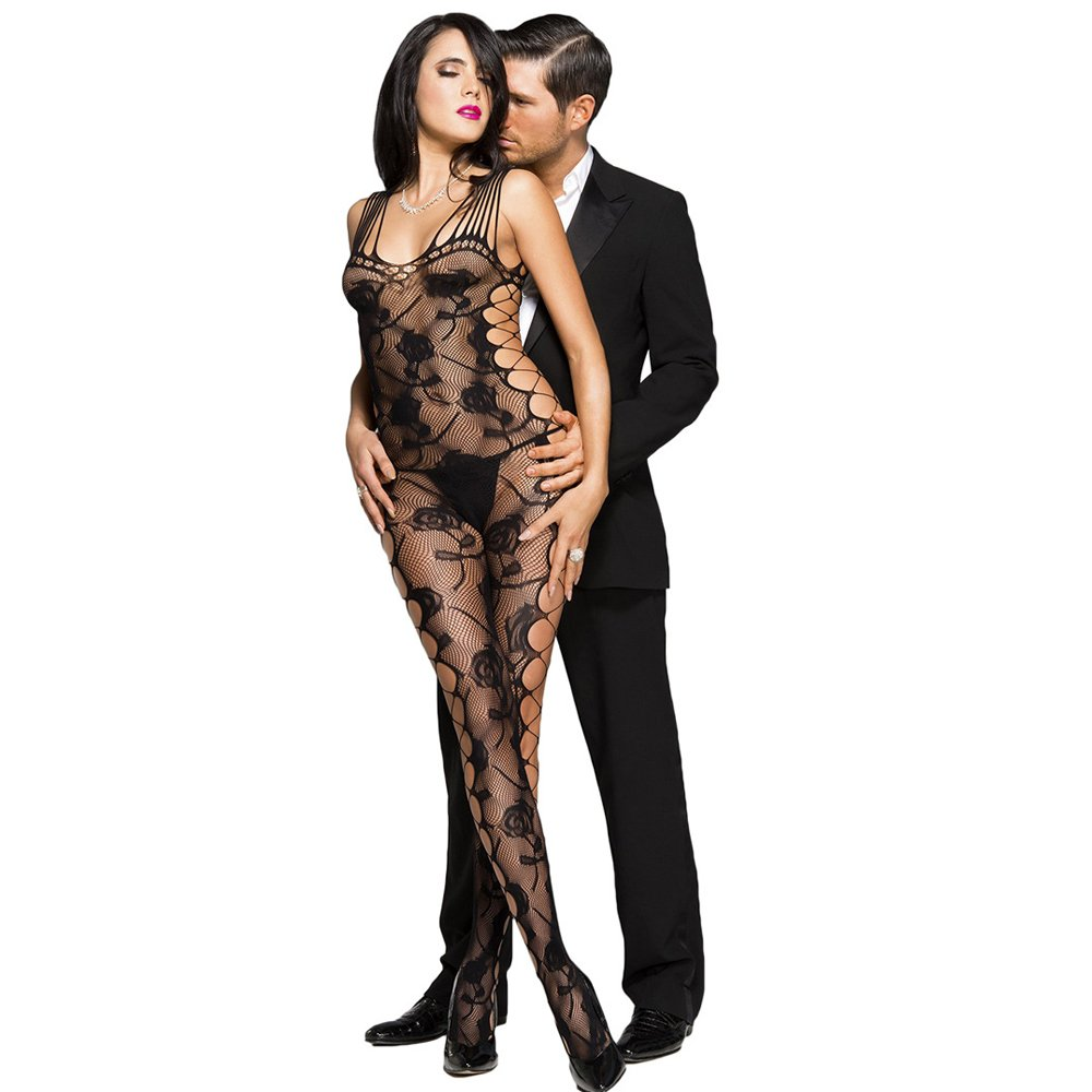 Amazon.com : Lingerie For Women Black Fish-Net Stockings ...