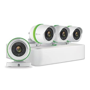 EZVIZ FULL HD 1080p Outdoor Surveillance System, 4 Weatherproof HD Security Cameras, 4 Channel 1TB DVR Storage, 100ft Night Vision, Customizable Motion Detection