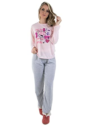 f7d78dba2 Pijama Longo Adulto Feminino Rosa Manga Comprida- Calça Mescla ...