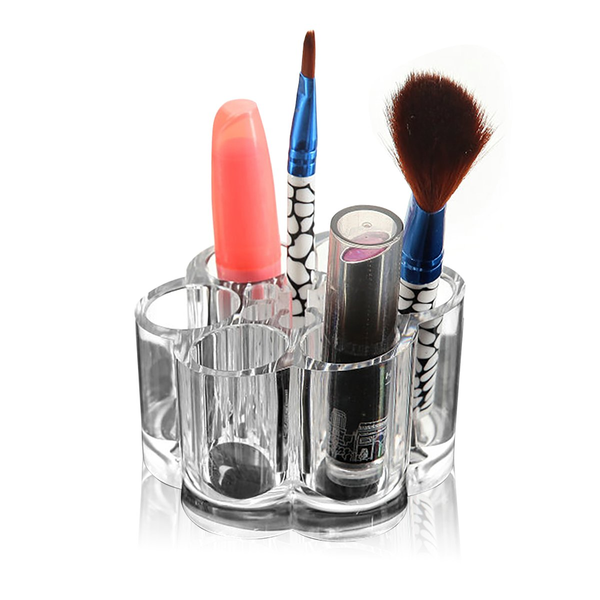 Acrylic Makeup Organizer with 12 Slots in 2 Sizes Clear Round Cosmetic And Lipstick Organizer