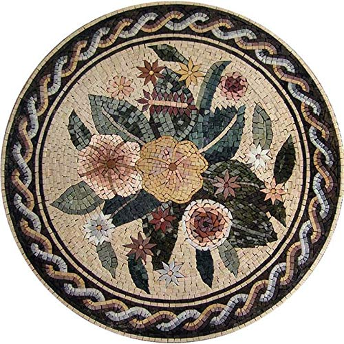 "Mozaico Mosaic Wall Art - Roman Medallion | Mosaic Designs | Mosaic Artwork | Mosaic Wall Art Floor Inlay Handmade Mosaics | 12"" x 12"""