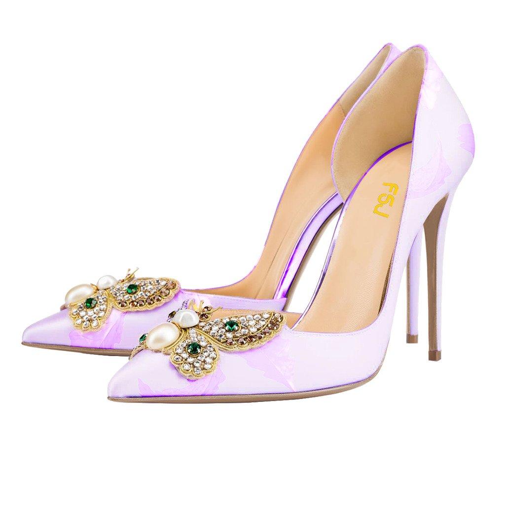 FSJ Women Classic Wedding Shoes Rhinestone Pointed Toe D'Orsay Stiletto High Heel Pumps Size 4-15 US B01CNR4H7O 4 B(M) US|Light Purple
