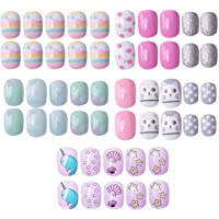 120 pcs 5 Pack Children Nails Press on Pre-glue Full Cover Short Blue Pink Gradient False Nail Kits Great Kids Little…