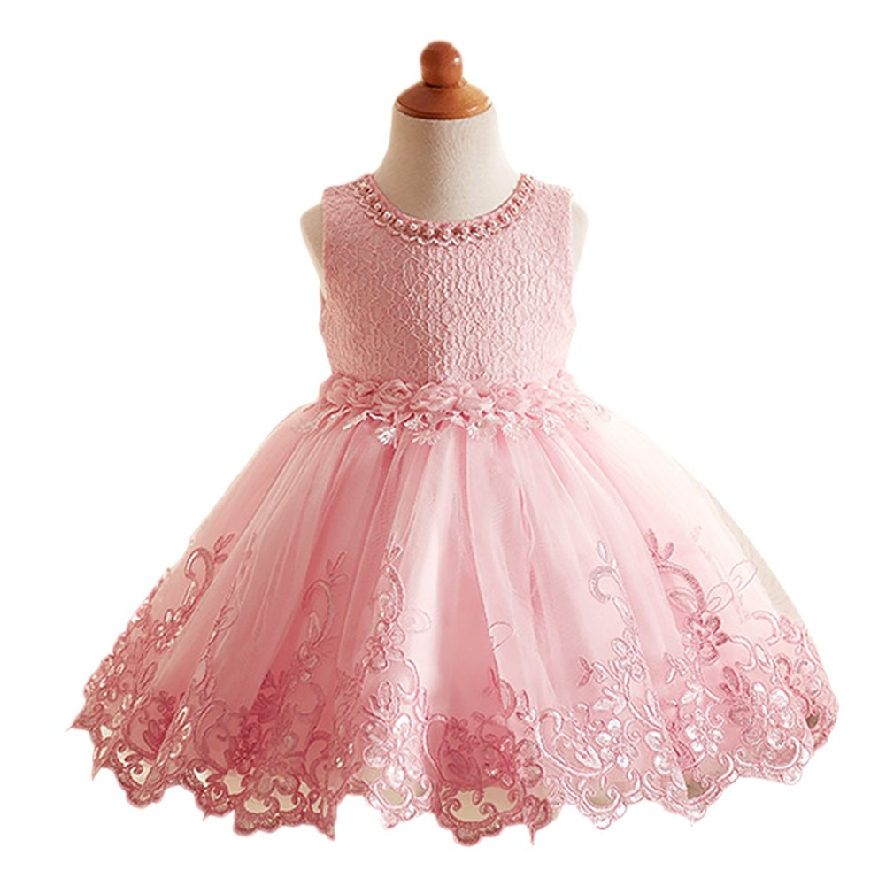 IBTOM CASTLE Girls Birthday Beaded Lace Flower Princess Short Dresses Party Gown