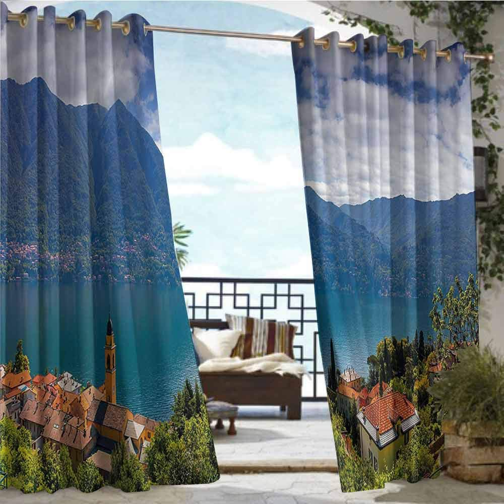Indoor/Outdoor Single Panel print Window Curtain Modern,Mountain Village on the Hills Como Lake Italian Town European Mediterranean Scenery,Multicolor,W108''xL84'' Outdoor Patio Curtains Waterproof wit by Andrea Sam