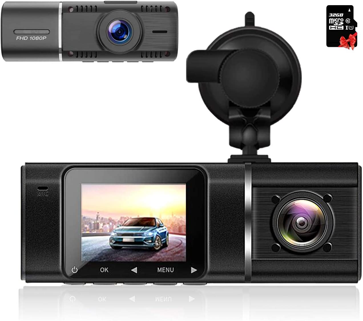 SendCord Dual Dash Cam Front and Rear with Night Vision for Taxi & Rideshare: Featuring 310° View, Parking Monitor, HDR, G-Sensor, Motion Detection -Car Camera - Dash Cam Front and Rear