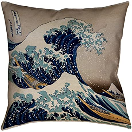ArtVerse Katsushika Hokusai The Great Wave X Floor Pillows Double Sided Print With Concealed Zipper Insert 40 X 40