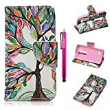 LG Leon Case, Firefish High Grade PU Leather Wallet [Card Pockets] [kickstand Feature] Magnetic Closure and Scratch-Resistant Case for LG Leon - Color Tree
