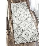 Cozy Soft and Plush Moroccan Trellis/Grey Runner Shag Area Rug